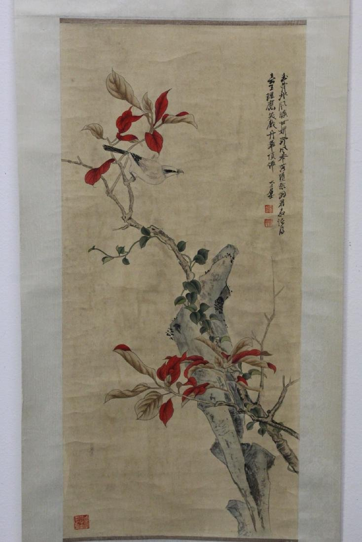 """Chinese watercolor scroll """"birds and flowers"""""""
