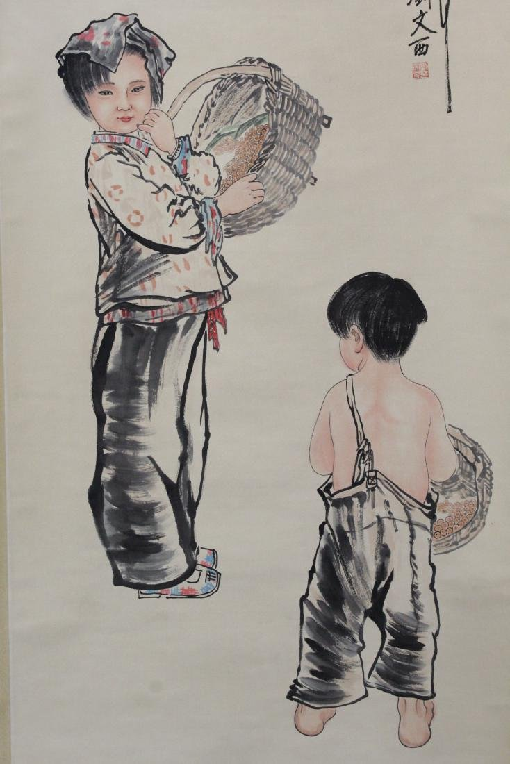 "Chinese watercolor scroll ""portrait of girl"" - 3"