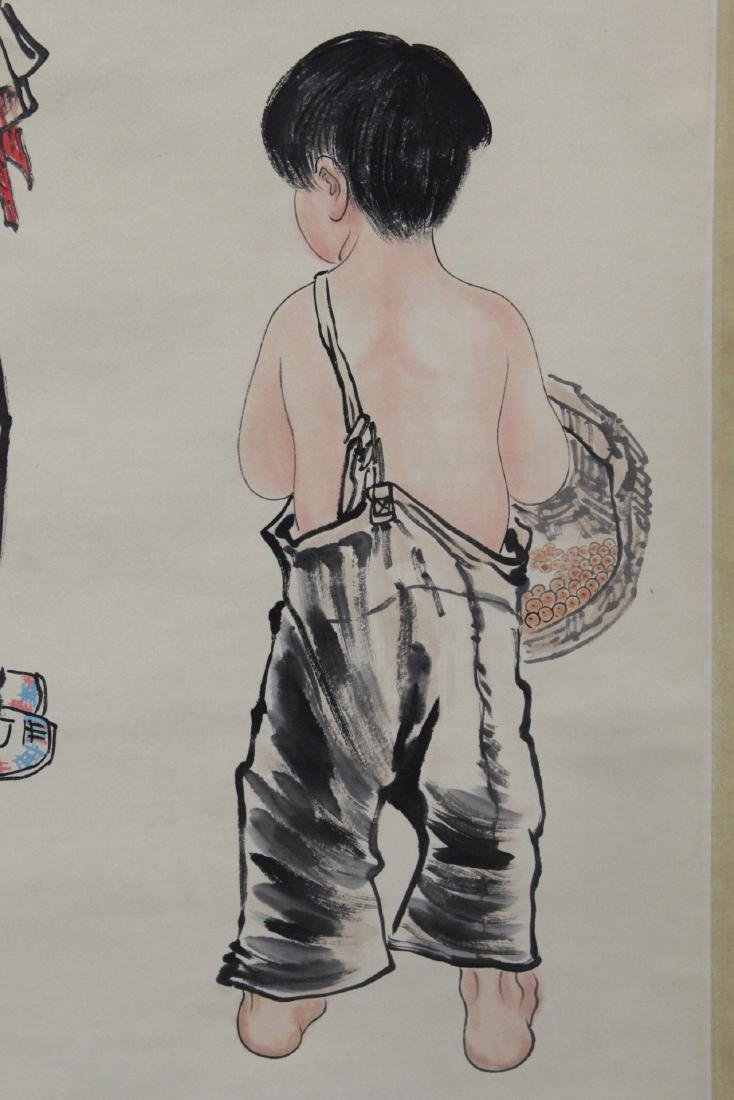 """Chinese watercolor scroll """"portrait of girl"""" - 4"""