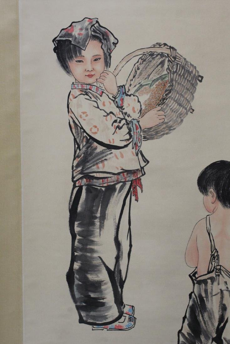 "Chinese watercolor scroll ""portrait of girl"" - 5"