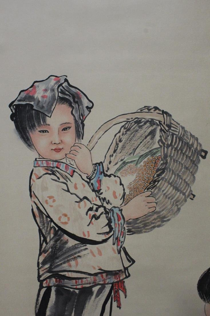"Chinese watercolor scroll ""portrait of girl"" - 8"