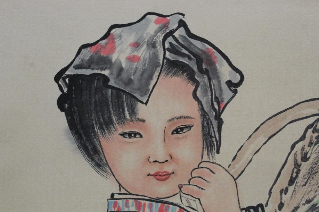 "Chinese watercolor scroll ""portrait of girl"" - 9"