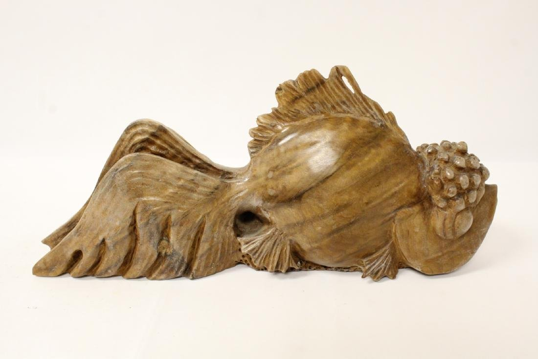 A rare Chinese wood carved fish
