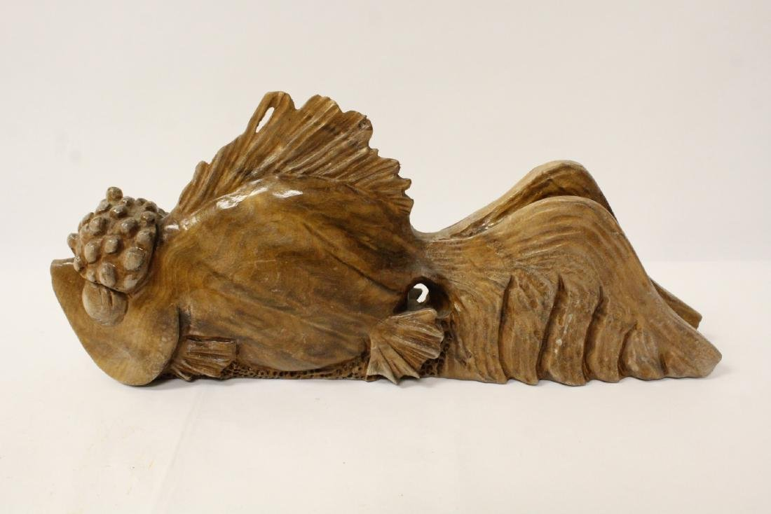 A rare Chinese wood carved fish - 6