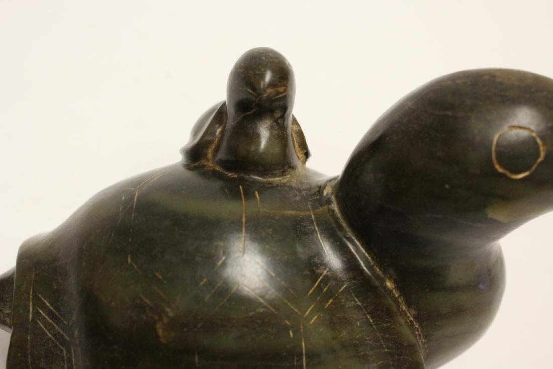 jade like stone carved turtle group - 8