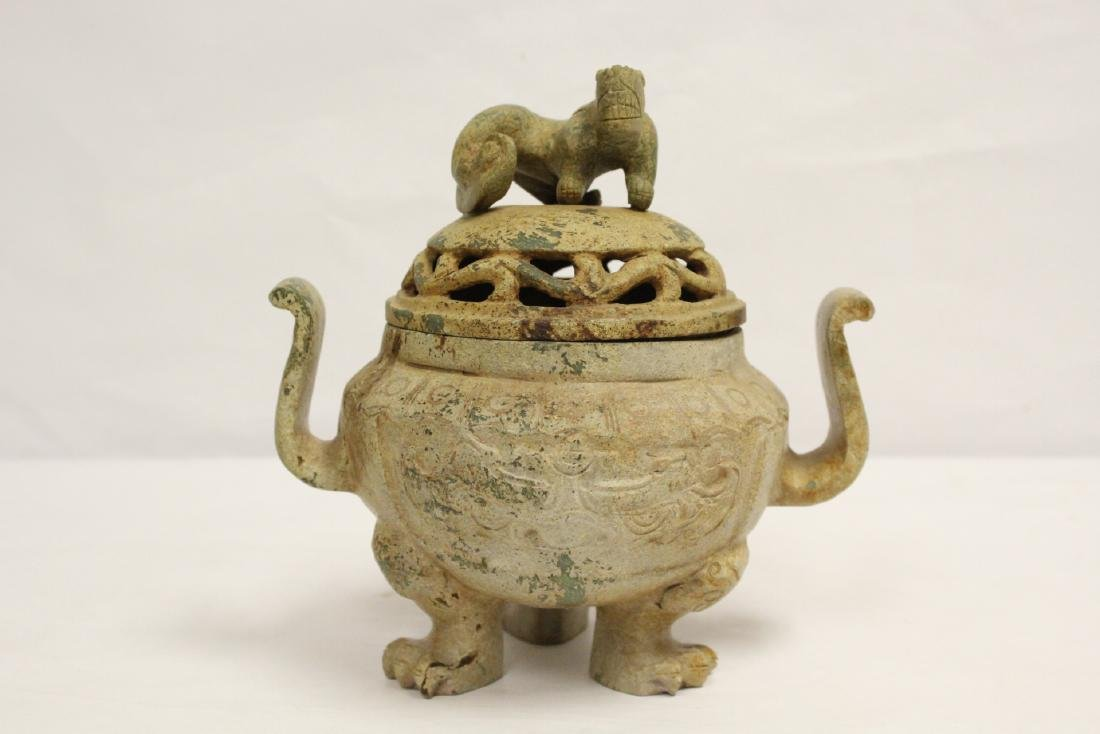 Chinese jade like stone carved covered censer