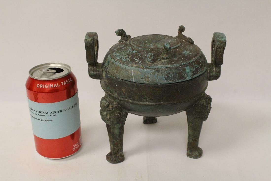 Chinese archaic style bronze covered ding - 2