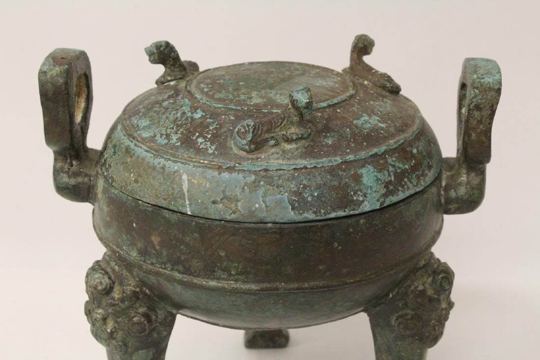 Chinese archaic style bronze covered ding - 3