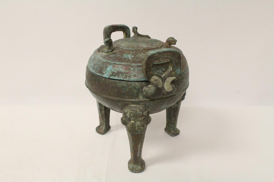 Chinese archaic style bronze covered ding - 4