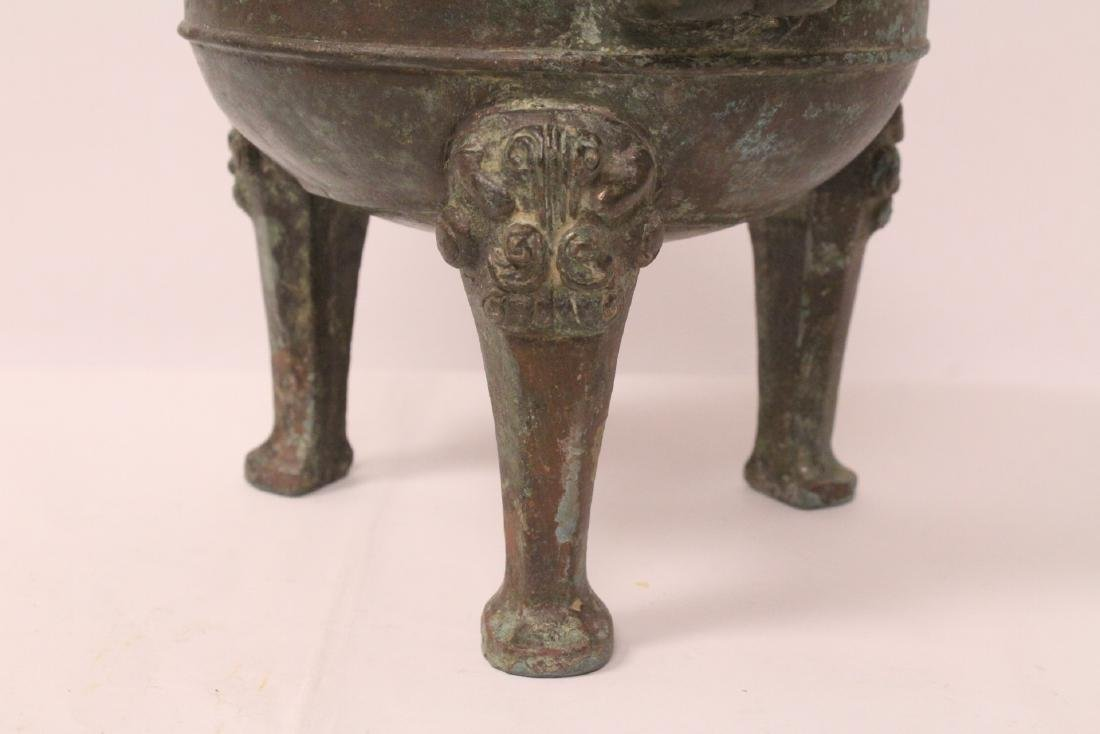 Chinese archaic style bronze covered ding - 5