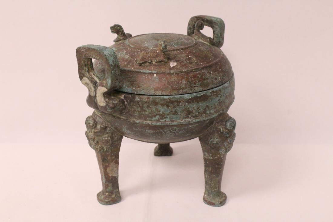 Chinese archaic style bronze covered ding - 6