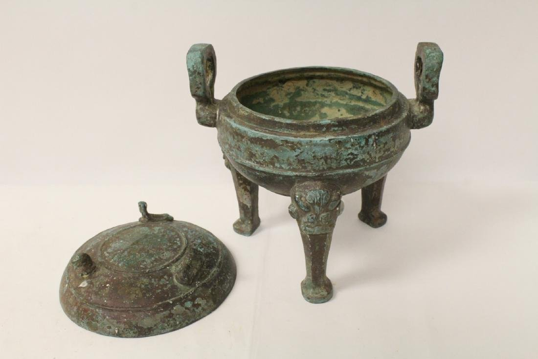 Chinese archaic style bronze covered ding - 7
