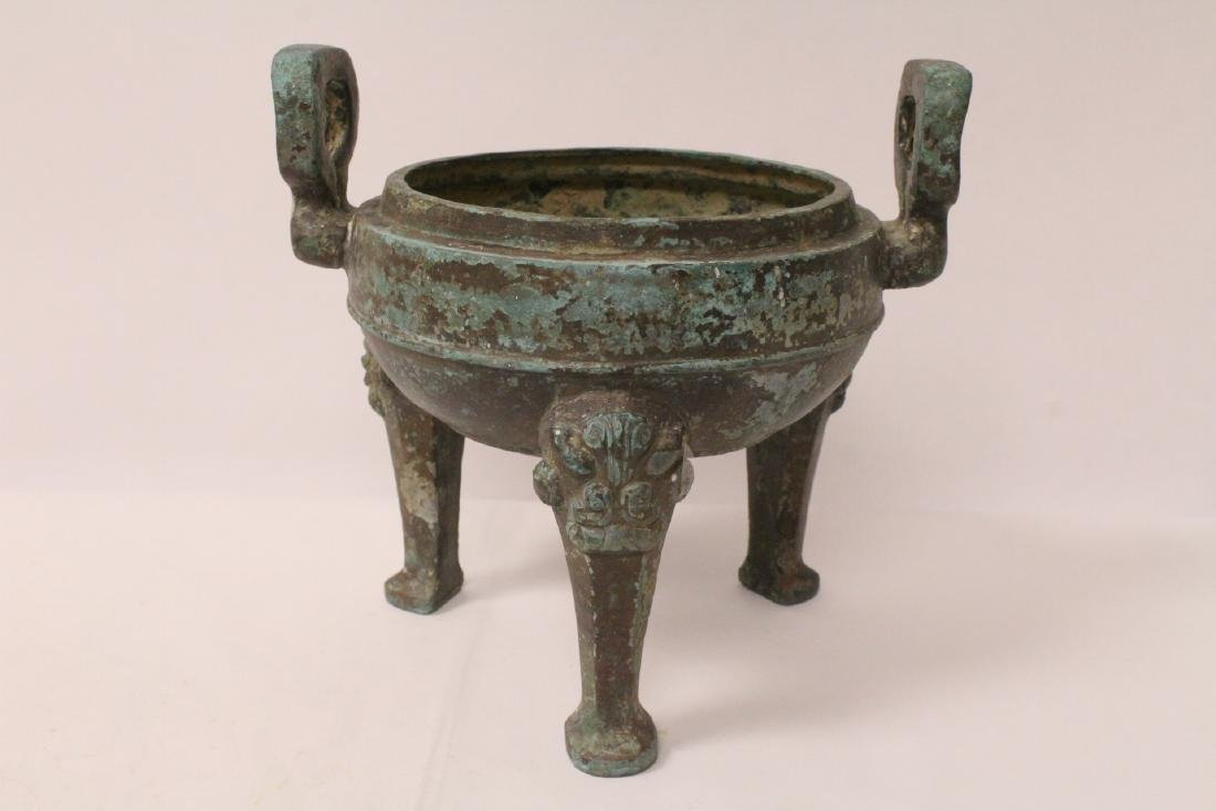 Chinese archaic style bronze covered ding - 8