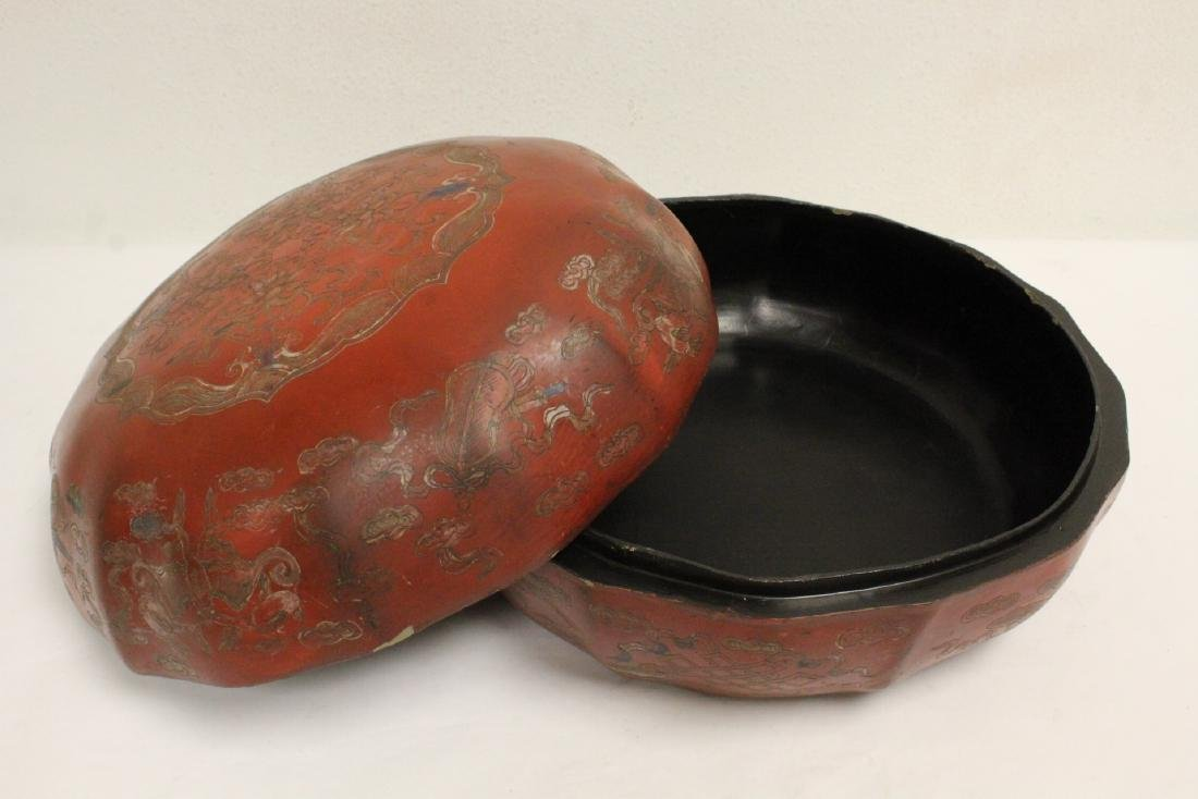 Chinese large covered lacquer box