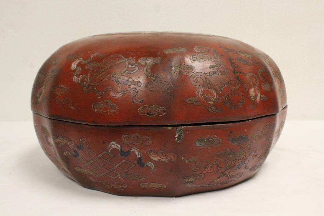 Chinese large covered lacquer box - 3