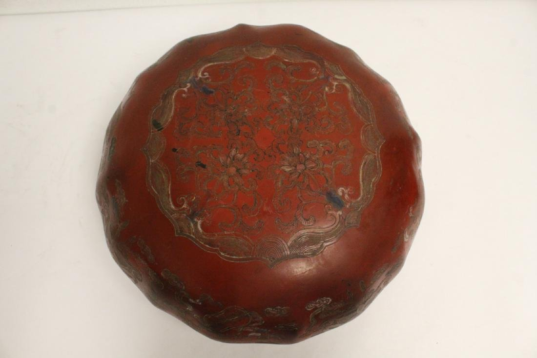 Chinese large covered lacquer box - 6