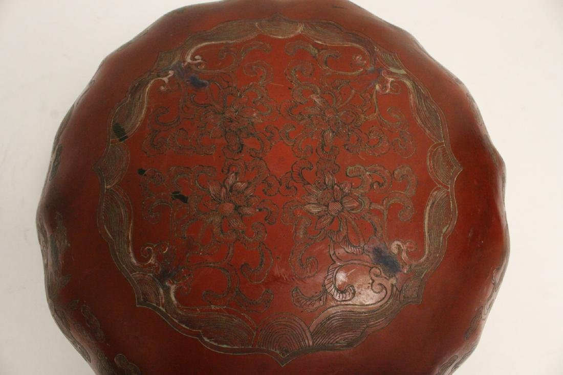 Chinese large covered lacquer box - 7