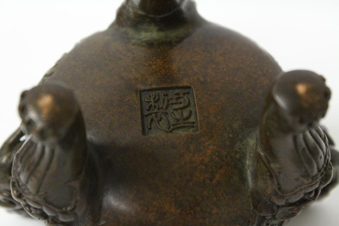 A very heavy bronze covered censer - 10