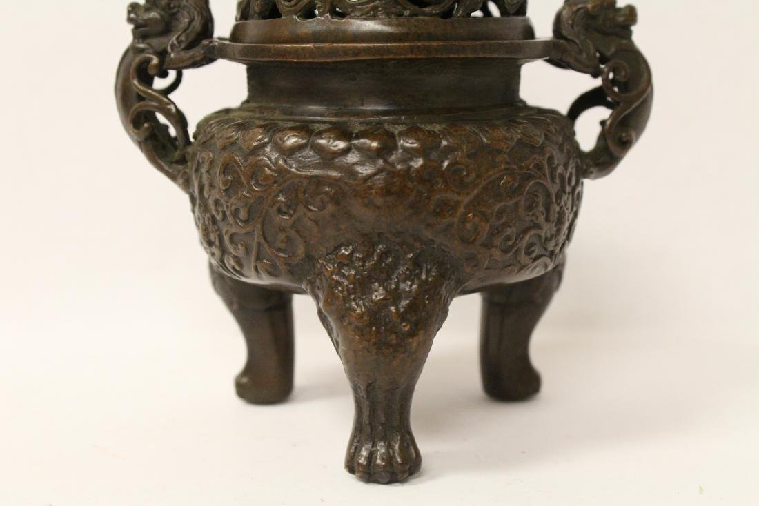 A very heavy bronze covered censer - 2
