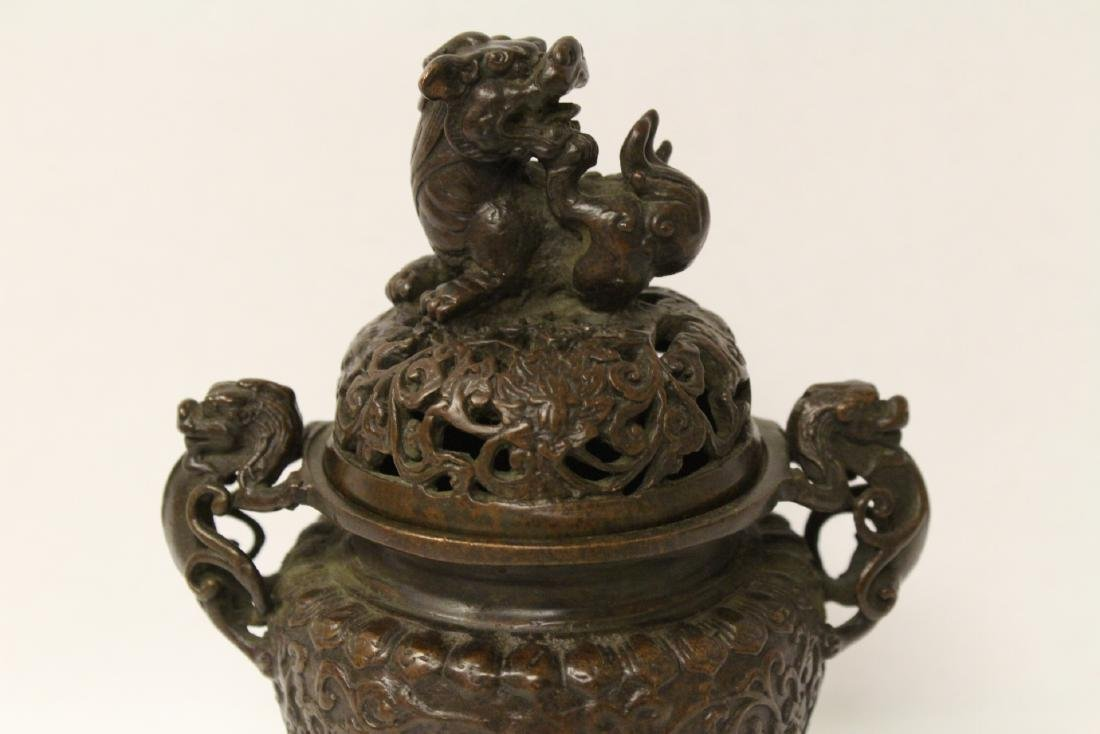 A very heavy bronze covered censer - 4