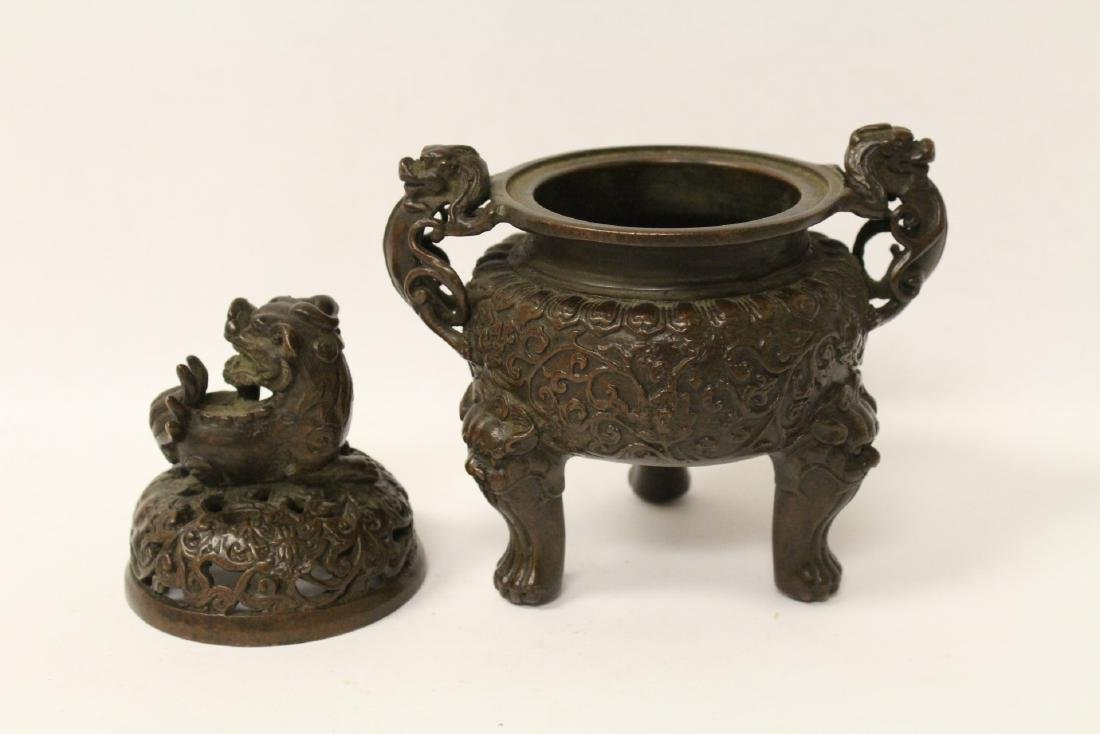 A very heavy bronze covered censer - 6