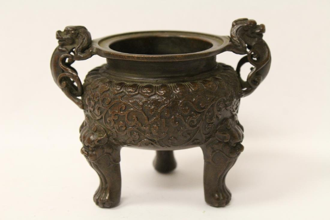 A very heavy bronze covered censer - 7