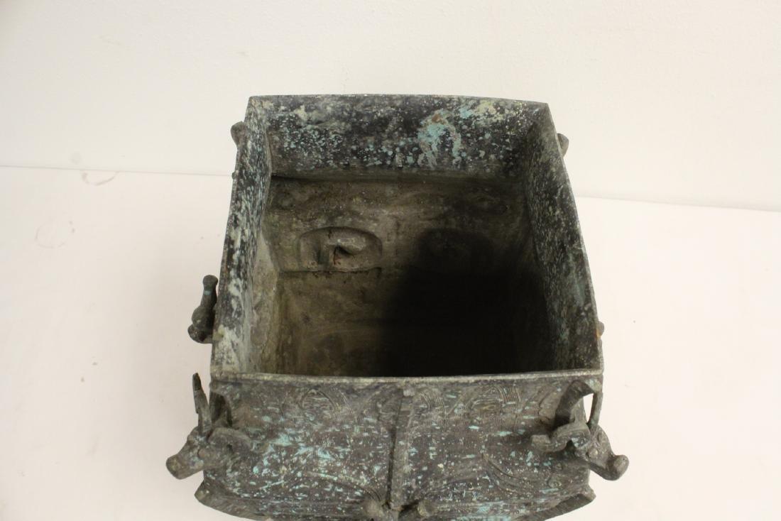 A massive Chinese square bronze jar - 3