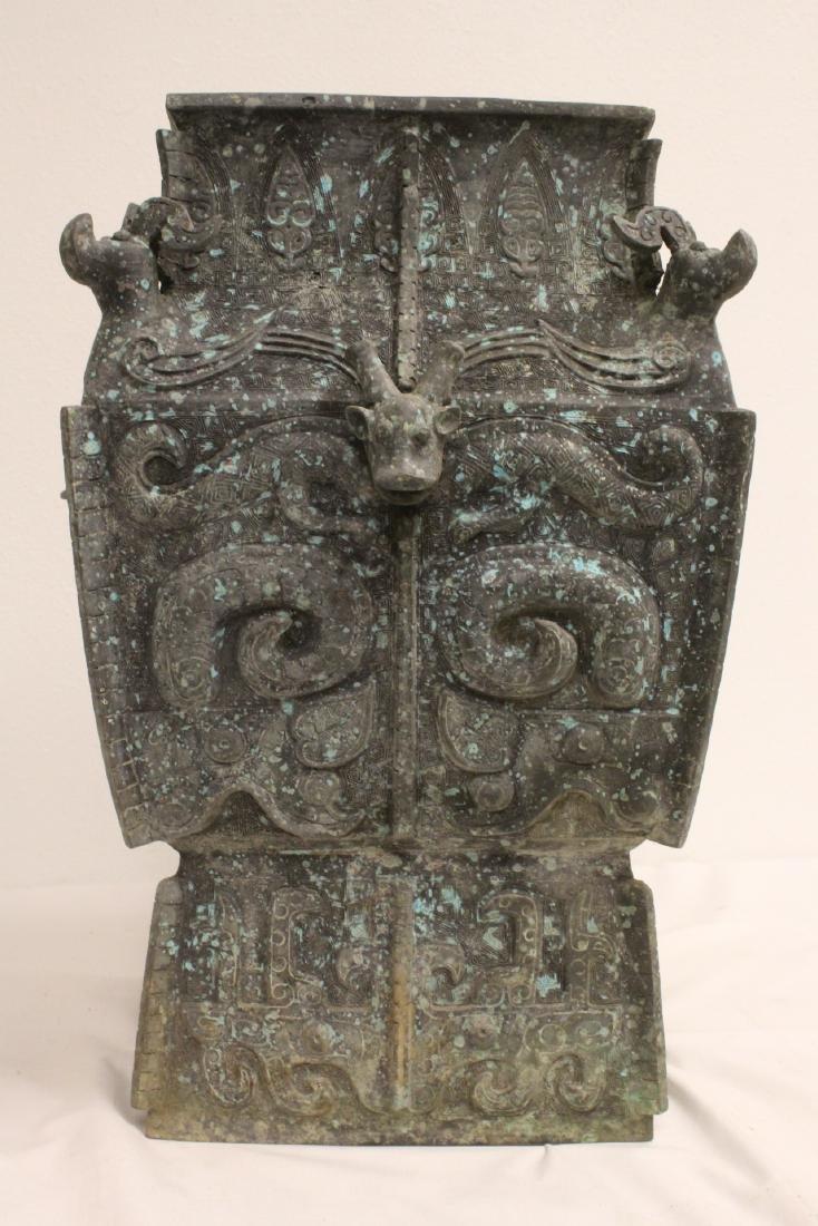 A massive Chinese square bronze jar - 8