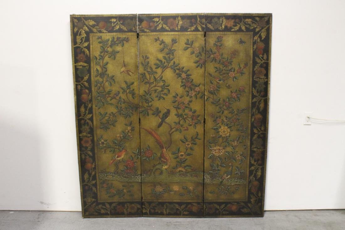 3-panel room divider decorated with flowers