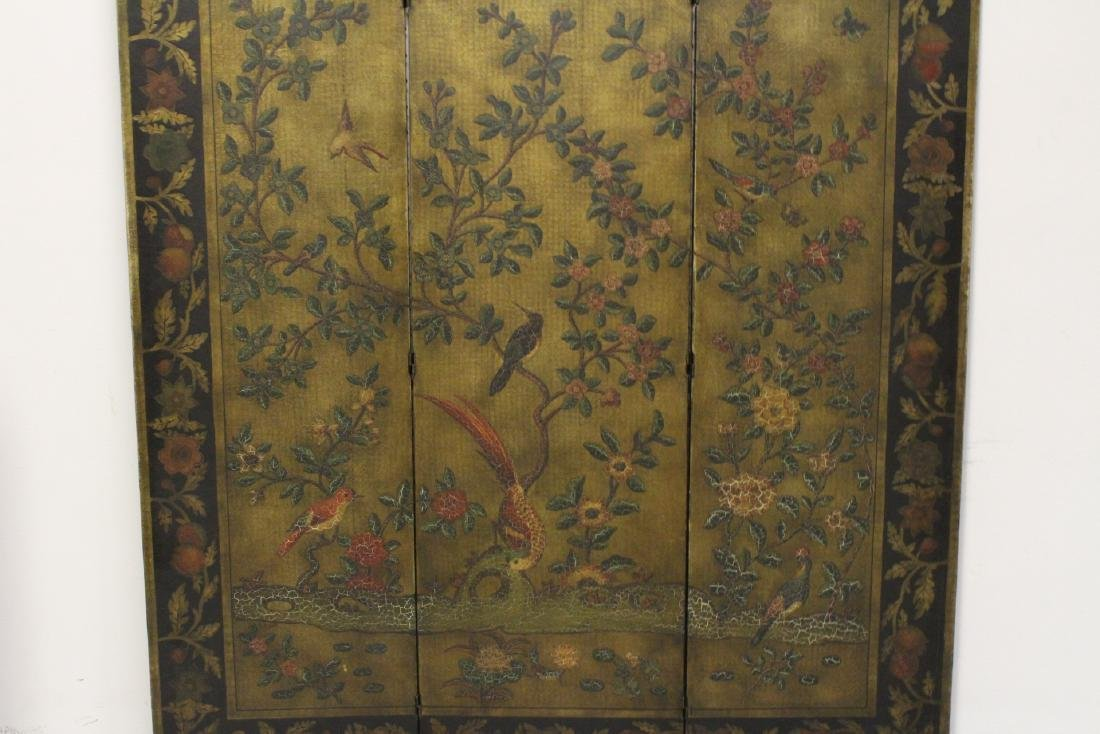 3-panel room divider decorated with flowers - 2