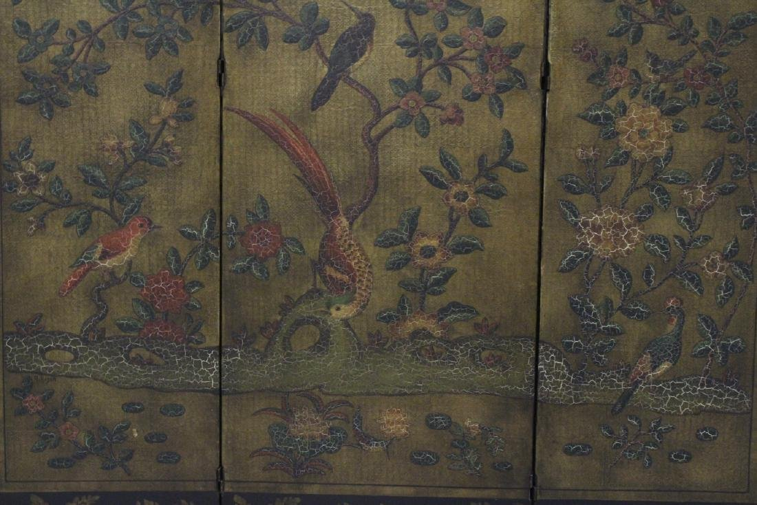 3-panel room divider decorated with flowers - 3