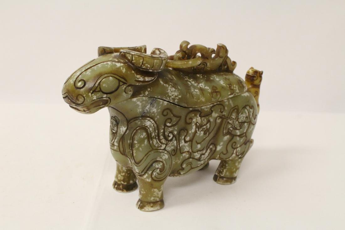 Celadon jade carved cow - 3