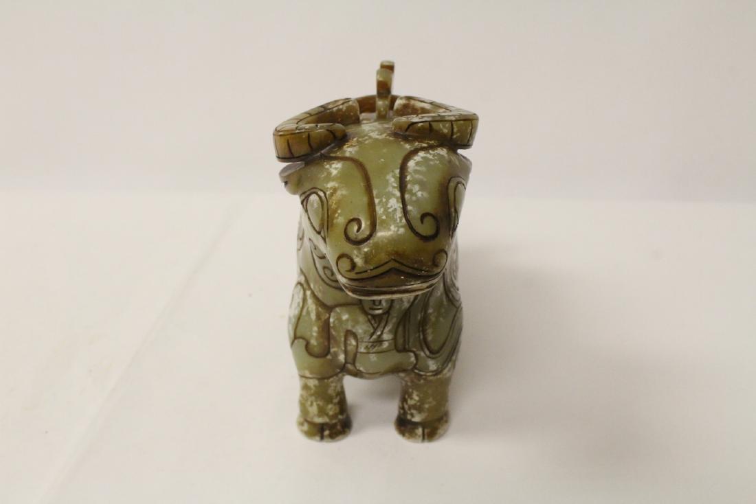 Celadon jade carved cow - 8