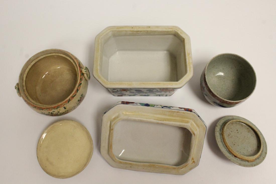 3 wucai porcelain covered box - 3