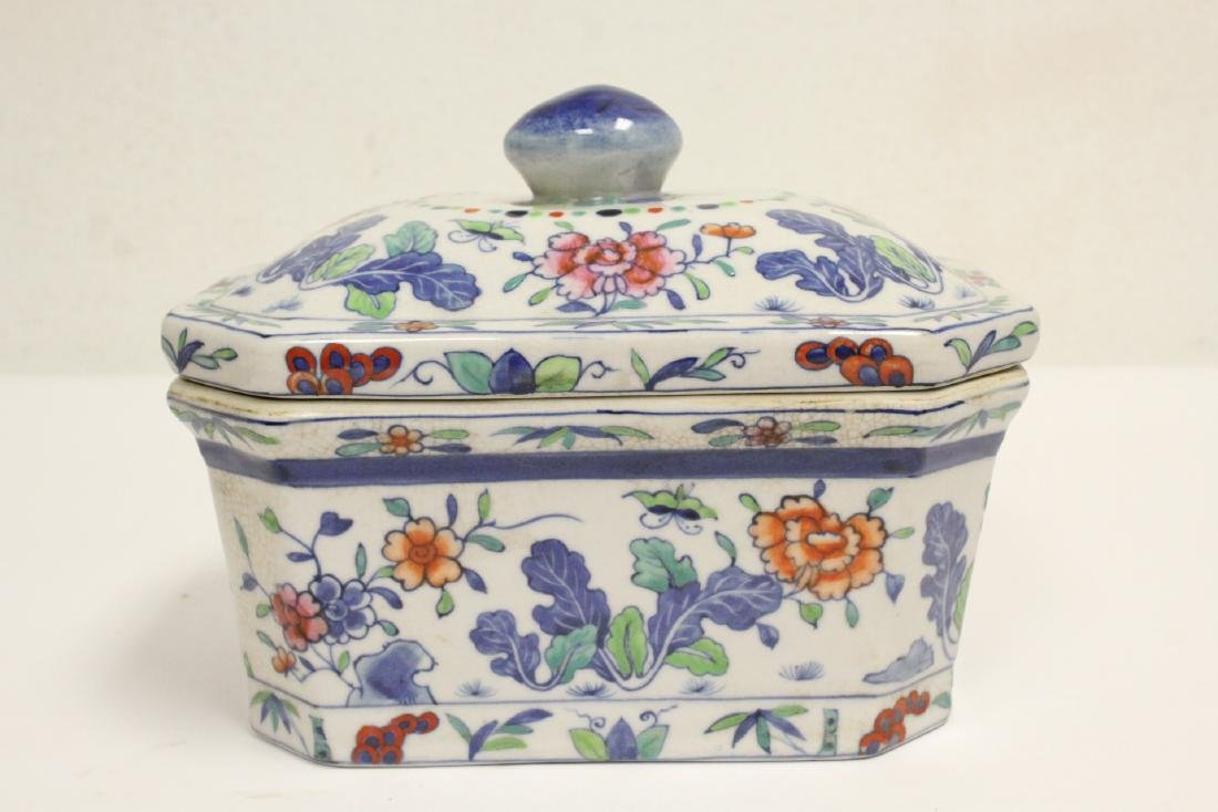 3 wucai porcelain covered box - 7