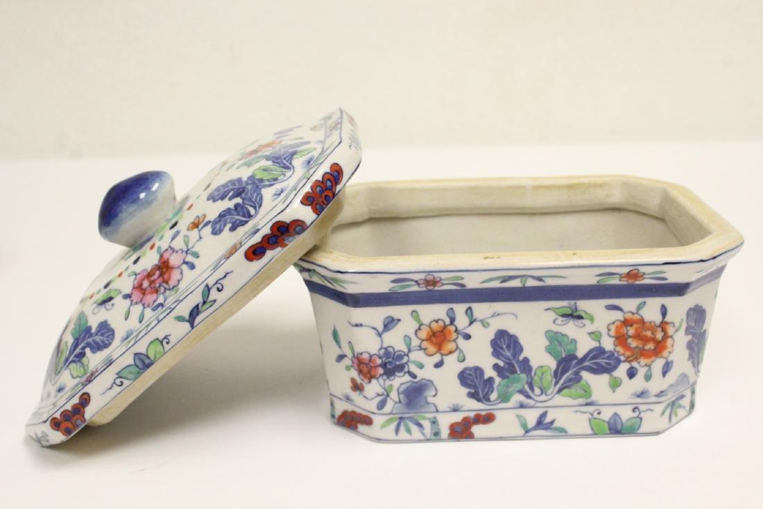 3 wucai porcelain covered box - 8