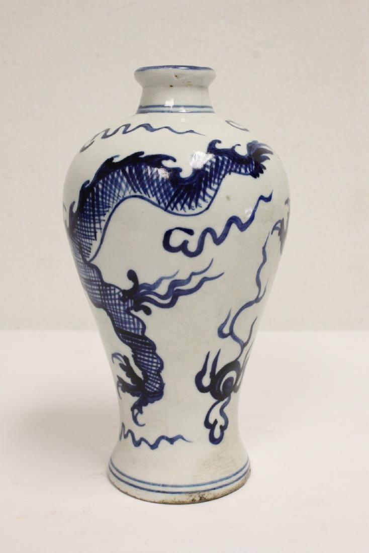 2 blue and white porcelain vases - 3