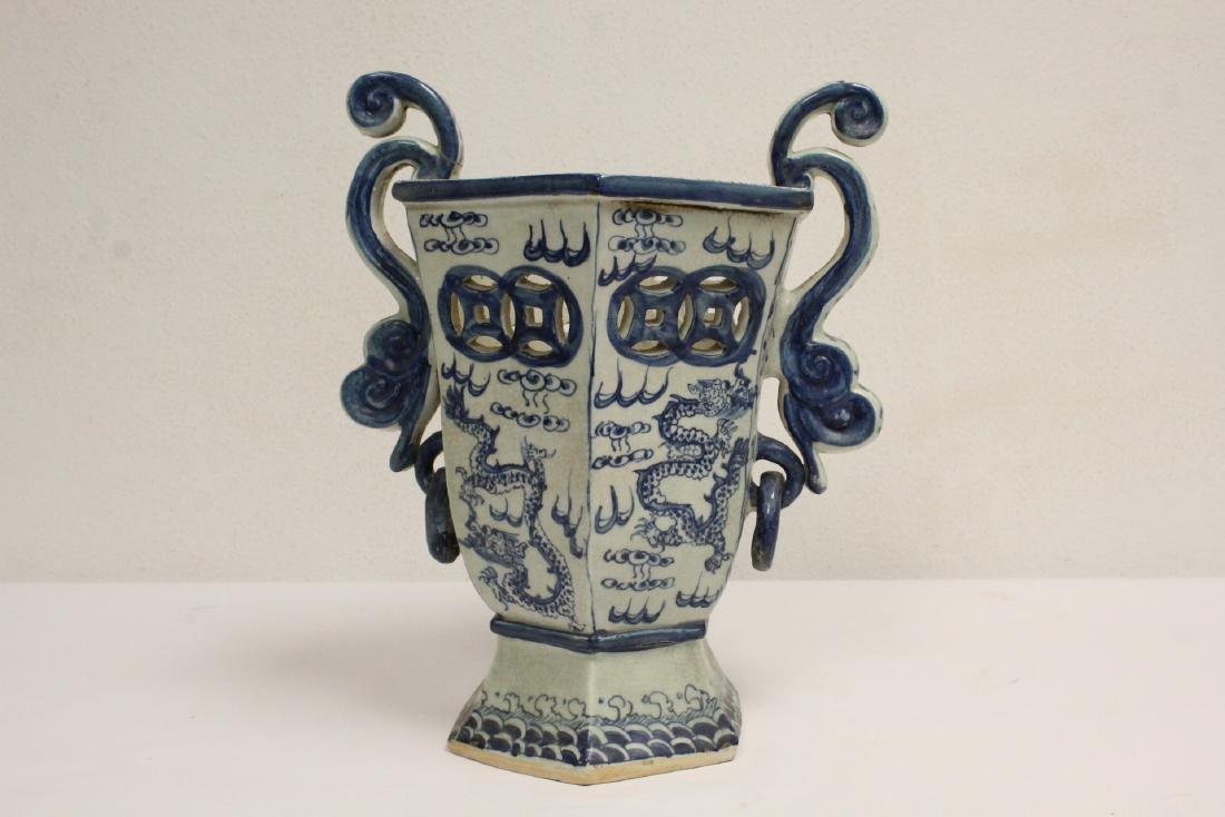2 blue and white porcelain vases - 6