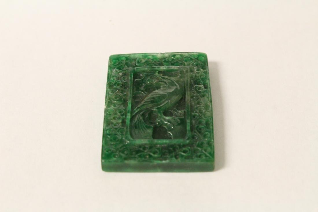 A beautiful green jadeite plaque - 10