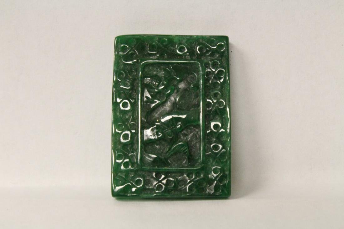 A beautiful green jadeite plaque