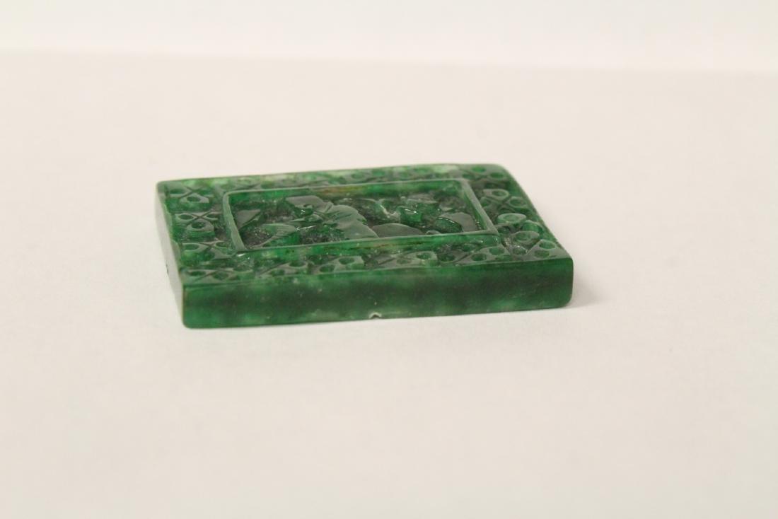 A beautiful green jadeite plaque - 6