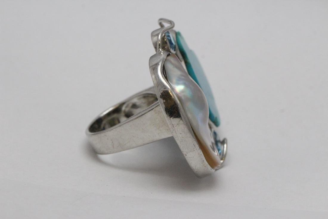 2 sterling rings set w/ turquoise, coral & Mabe pearl - 10