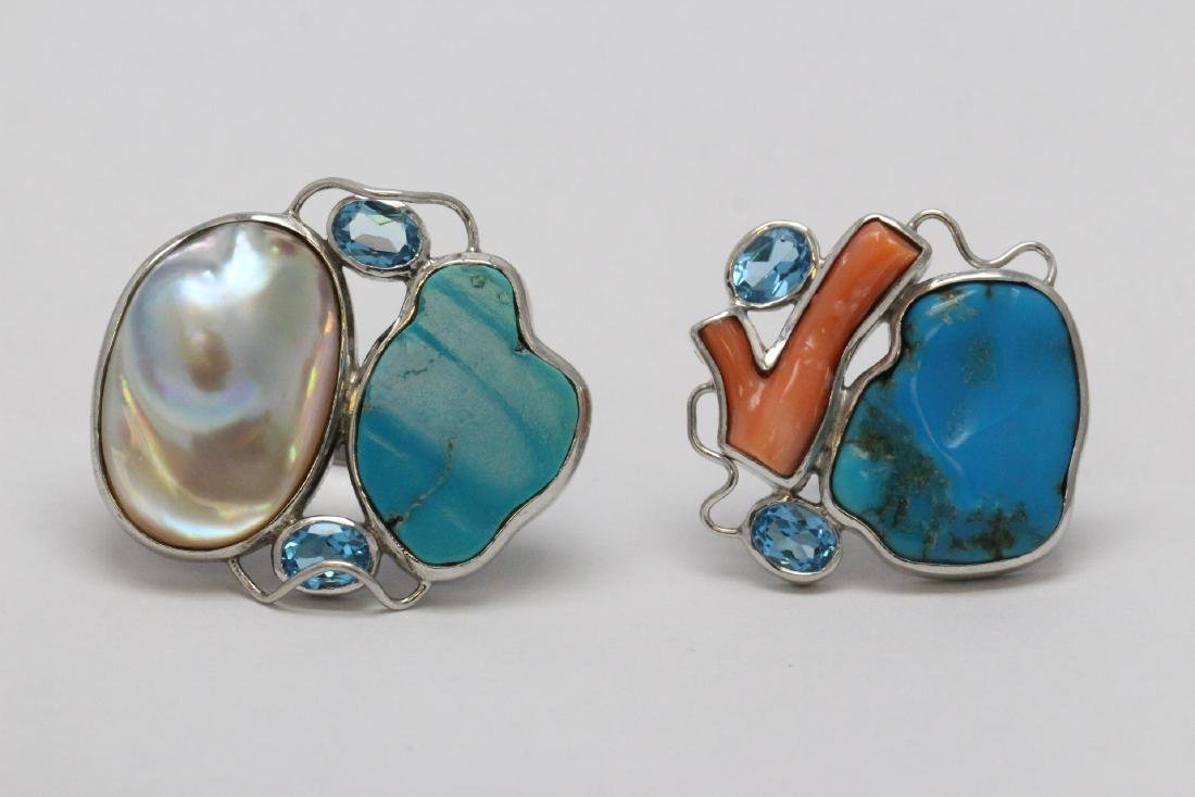 2 sterling rings set w/ turquoise, coral & Mabe pearl