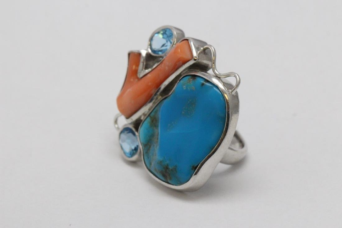 2 sterling rings set w/ turquoise, coral & Mabe pearl - 3