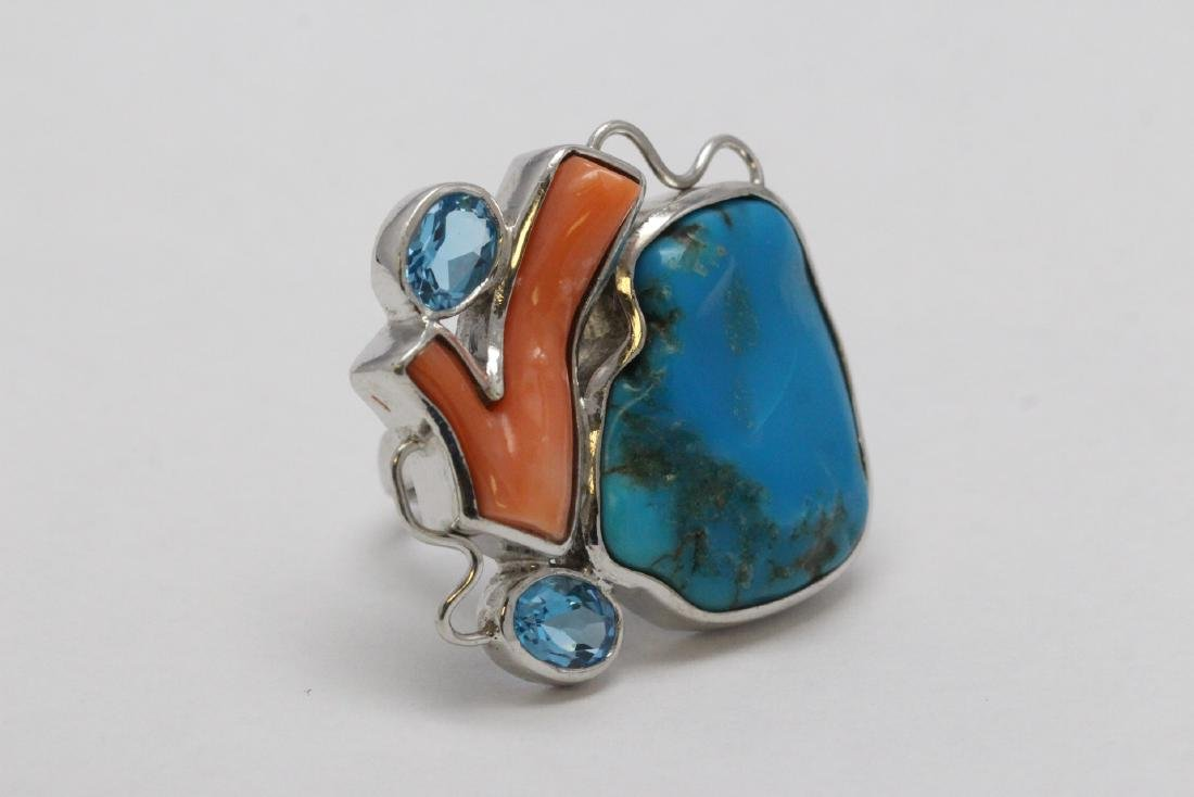 2 sterling rings set w/ turquoise, coral & Mabe pearl - 4