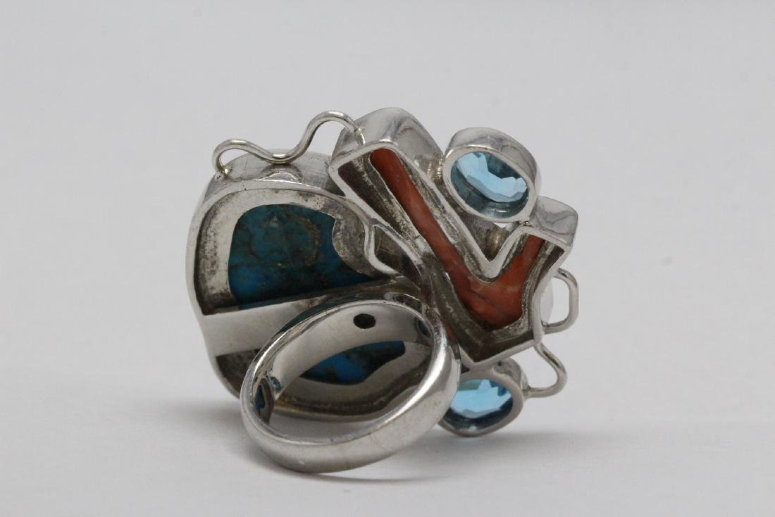2 sterling rings set w/ turquoise, coral & Mabe pearl - 5