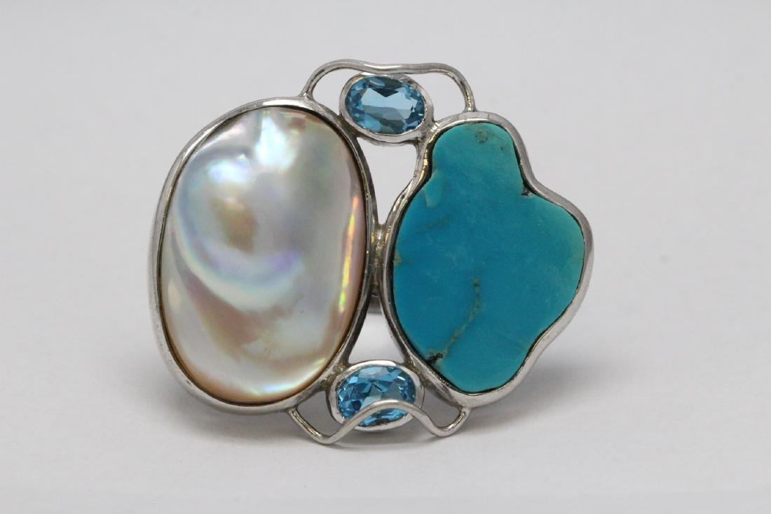 2 sterling rings set w/ turquoise, coral & Mabe pearl - 7