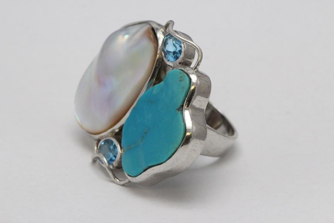 2 sterling rings set w/ turquoise, coral & Mabe pearl - 8