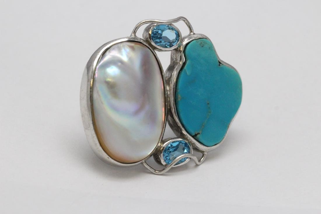 2 sterling rings set w/ turquoise, coral & Mabe pearl - 9