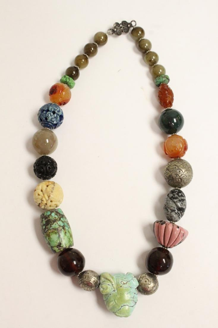 vintage necklace w/ agate, turquoise and jade bead